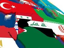 Область Израиля, Ливана, Джордана, Сирии и Ирака на 3D составляет карту с fl Стоковая Фотография