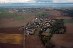 Область Франции Парижа обрабатывала землю вид с воздуха полей Стоковое Фото