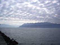 Облачное небо озера Женев Стоковые Изображения
