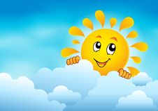 Облачное небо с скрываясь солнцем 1 Стоковые Фотографии RF