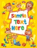Обложка книги детей шаблон рекламируя брошюры Стоковое Изображение RF