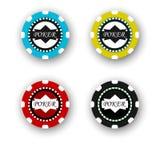 4 обломока покера изолированного на белой предпосылке Стоковое Изображение RF