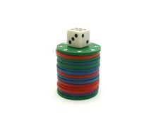 Обломоки и кость покера стоковая фотография
