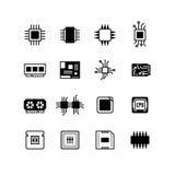 Обломоки компьютера электронные, материнская плата, значки вектора процессора оборудования иллюстрация штока