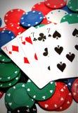 Обломоки покера и 4 sevens Стоковое Изображение