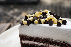 Обломоки шоколада на шоколадном торте Стоковая Фотография