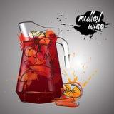 Обдумыванное вино с выплеском цвета Иллюстрация штока