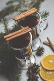 Обдумыванное вино с специями и ветвями спруса Стоковая Фотография RF