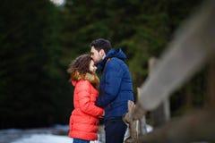 лоб целуя женщину человека Стоковые Изображения