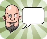 Облыселая и бородатая сторона человека с пузырем речи Стоковое Изображение RF