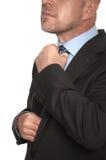 Облыселый человек в костюме и связи Стоковое фото RF