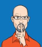 облыселый человек губ перста Стоковые Фото