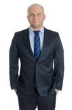 Облыселый человек с костюмом и белая предпосылка с связи Стоковое Изображение RF