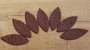 Овальный молочный шоколад с гайками на деревянной предпосылке стоковые изображения rf