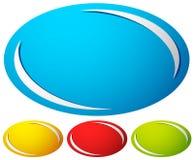 Овал, значок эллипсиса, предпосылка кнопки Комплект 4 цветов родово иллюстрация вектора