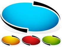 Овал, значок эллипсиса, предпосылка кнопки Комплект 4 цветов родово Стоковое Изображение RF