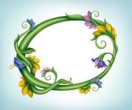 Естественная пустая рамка знамени с цветками и листьями зеленого цвета Стоковые Изображения