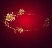 Овальная рамка золота с розой Стоковые Фотографии RF