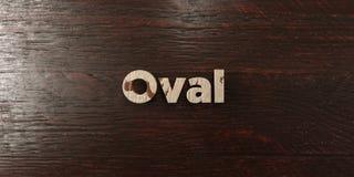 Овальное - grungy деревянный заголовок на клене - 3D представило изображение неизрасходованного запаса королевской власти Стоковые Фото