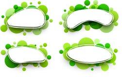 Овальные предпосылки с зелеными пузырями Стоковое Изображение RF
