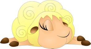 Овечка спать желтая с большими ресницами Стоковое фото RF