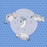 Овечка спать милая с луной Стоковое Изображение RF