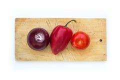 3 овоща на разделочной доске Стоковая Фотография RF