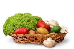 Овощи в корзине на белизне Стоковые Фотографии RF