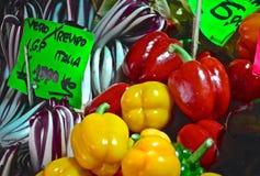 Овощи закрывают вверх в итальянском органическом рынке Стоковое Фото