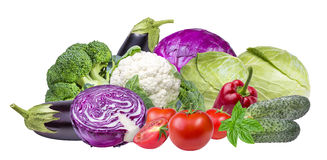Овощи изолированные на белизне Стоковое Фото