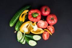 Овощи изолированные на черной предпосылке Стоковое Изображение