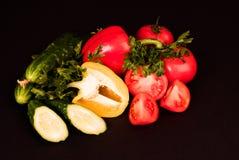 Овощи изолированные на черной предпосылке Стоковое фото RF