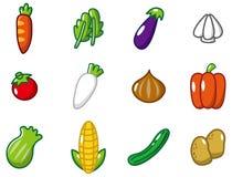 овощи иконы шаржа Стоковые Фото