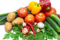 Овощи и зеленые цвета на белой предпосылке Стоковое Изображение RF
