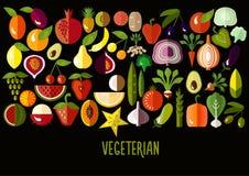 Овощи и значки плодоовощ: комплект вектора квартиры Стоковые Фото