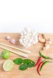 Овощи и ингридиент для Тома Yum Стоковая Фотография RF