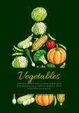 Овощи и органический плакат вектора veggies Стоковое Изображение RF