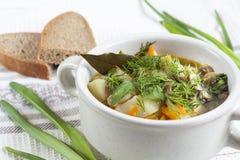 Овощи и суп гриба с травами в tureens глины на таблице Стоковые Фото