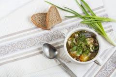 Овощи и суп гриба с травами в tureens глины на таблице Стоковое Изображение