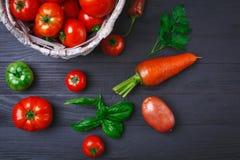 Овощи и травы на деревянной доске Стоковые Фото