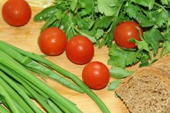 Овощи и хлеб Стоковые Фото
