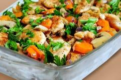 Овощи и цыпленок Стоковая Фотография