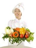 овощи кашевара пука женские молодые стоковые фото