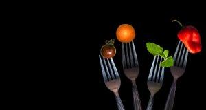 Овощи на вилке Стоковая Фотография