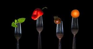 Овощи на вилке Стоковые Изображения