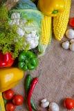 Овощи, овощи на таблице мозоль, цветная капуста, томаты, champignons, перцы chili Стоковые Изображения RF
