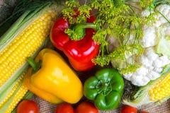 Овощи, овощи на таблице мозоль, цветная капуста, томаты, champignons, перцы chili Стоковое Изображение RF