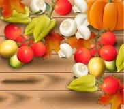 Овощи осени на шаблоне вектора деревянной предпосылки реалистическом Стоковое Изображение RF