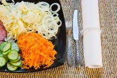 Овощи отрезока на тарелке Стоковые Изображения