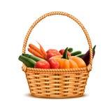 Овощи плетеной корзины реалистические стоковое фото rf